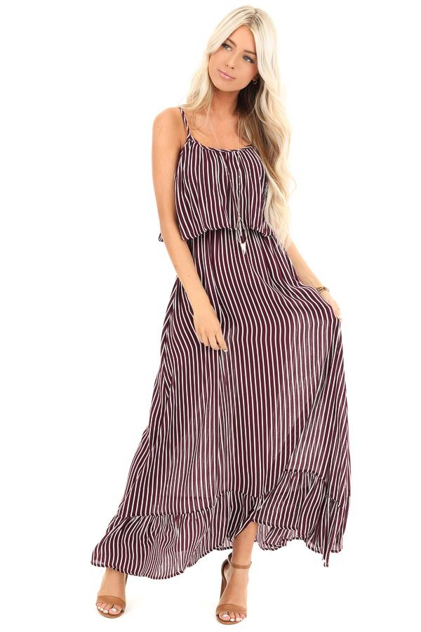 Burgundy and Ivory Striped Maxi Dress with Overlay front full body