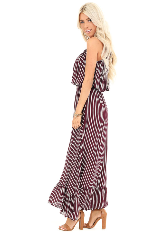Burgundy and Ivory Striped Maxi Dress with Overlay side full body