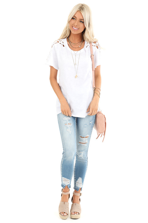 Pure White Short Sleeve Top with Lace Shoulder Detail front full body