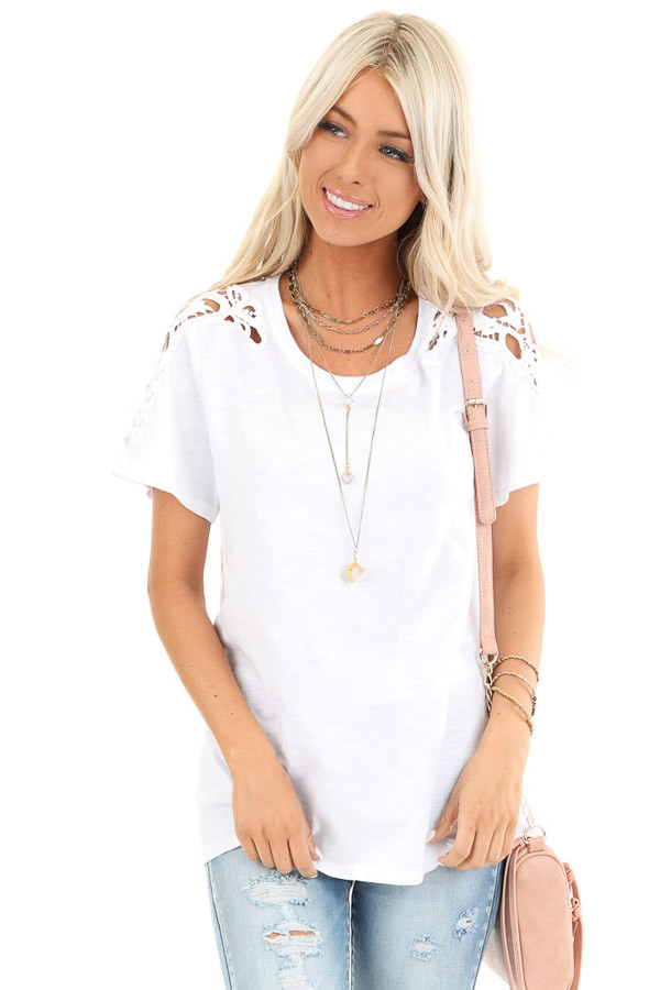 Pure White Short Sleeve Top with Lace Shoulder Detail front close up