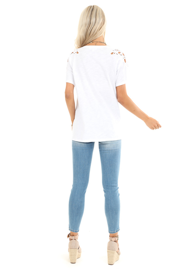 Pure White Short Sleeve Top with Lace Shoulder Detail back full body