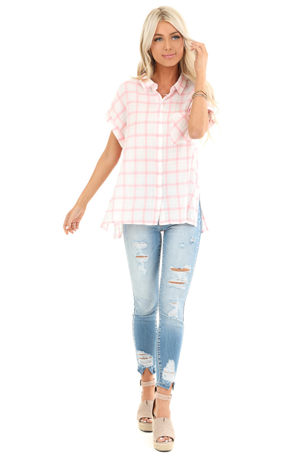 Cotton Candy and Ivory Short Sleeve Plaid Top with Pocket front full body