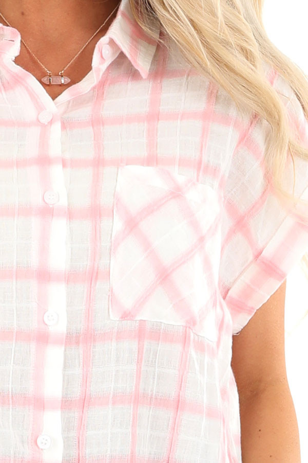 Cotton Candy and Ivory Short Sleeve Plaid Top with Pocket detail
