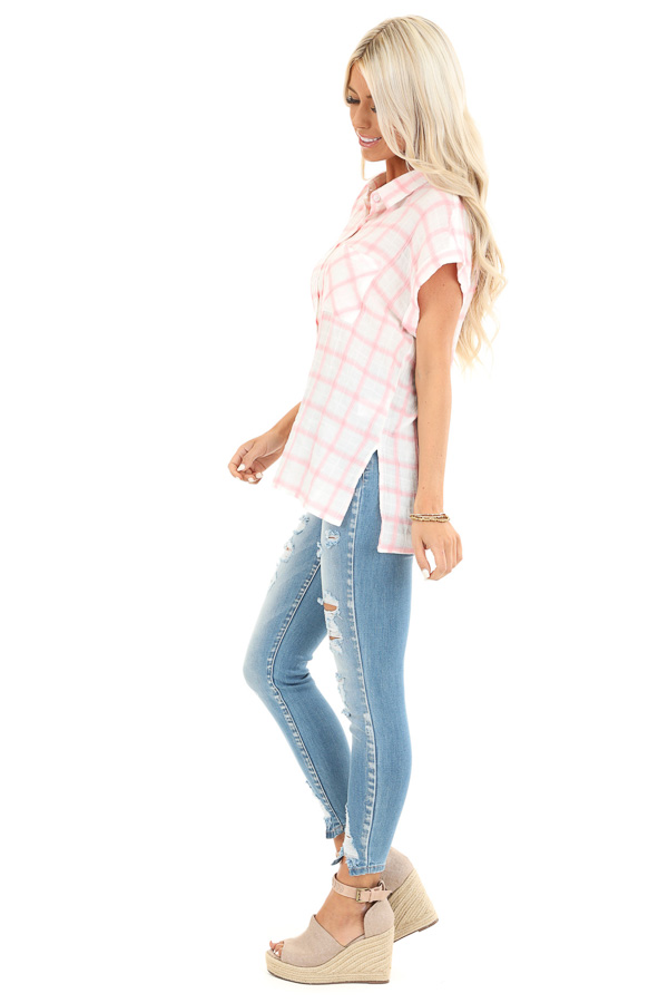 Cotton Candy and Ivory Short Sleeve Plaid Top with Pocket side full body