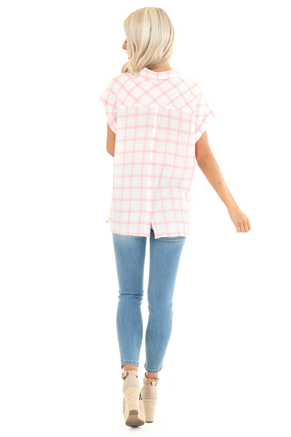 Cotton Candy and Ivory Short Sleeve Plaid Top with Pocket back full body