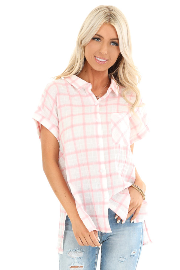 Cotton Candy and Ivory Short Sleeve Plaid Top with Pocket front close up