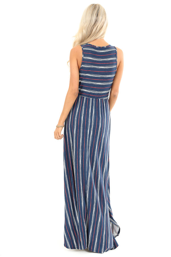 Navy and Brick Striped Sleeveless Maxi Dress with Pockets back full body