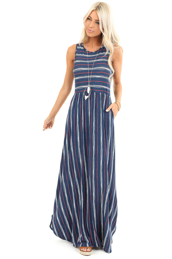 Navy and Brick Striped Sleeveless Maxi Dress with Pockets front full body