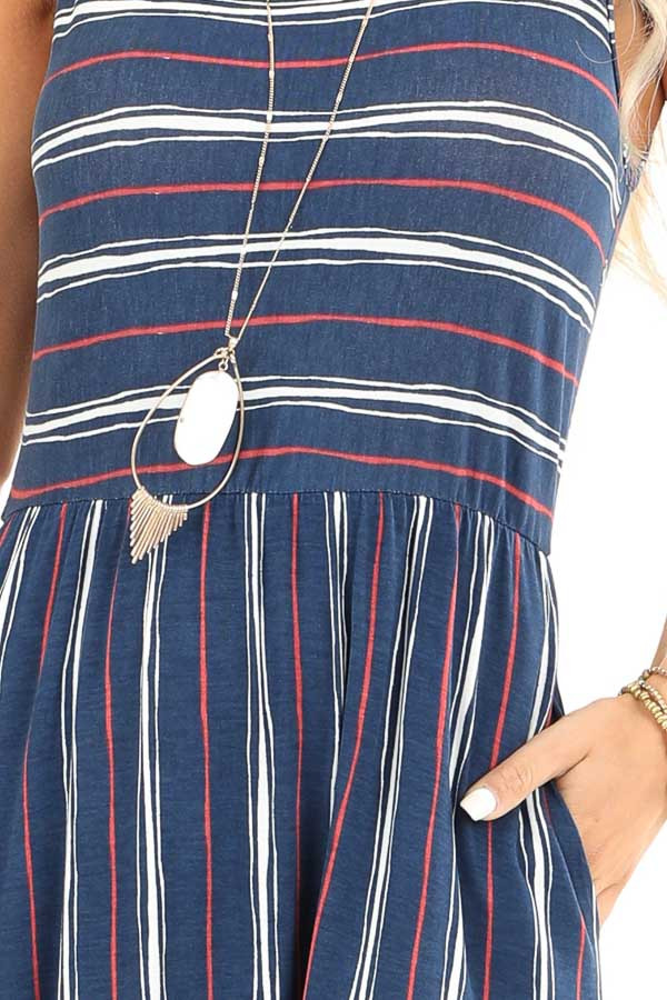 Navy and Brick Striped Sleeveless Maxi Dress with Pockets detail
