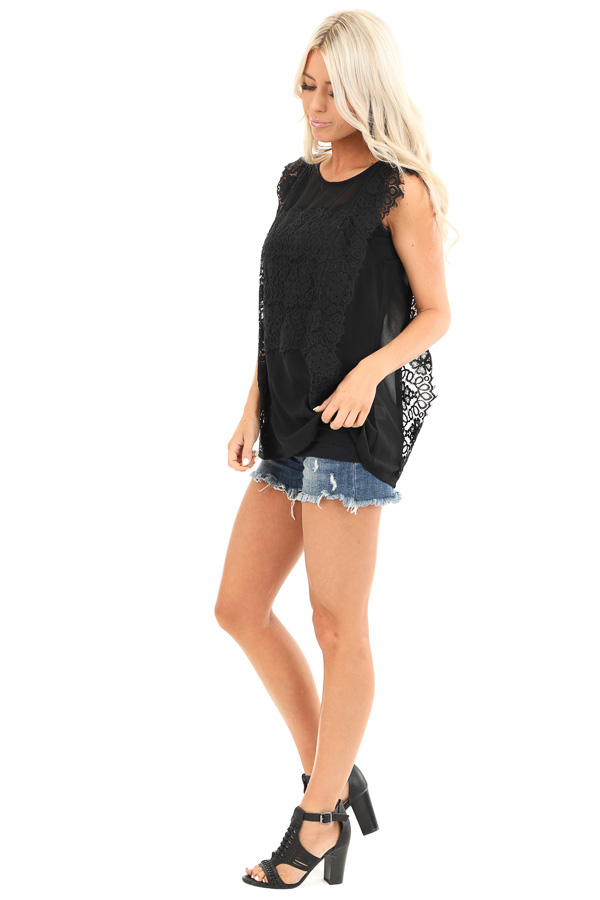 Raven Black Short Sleeve Top with Floral Lace Details side full body