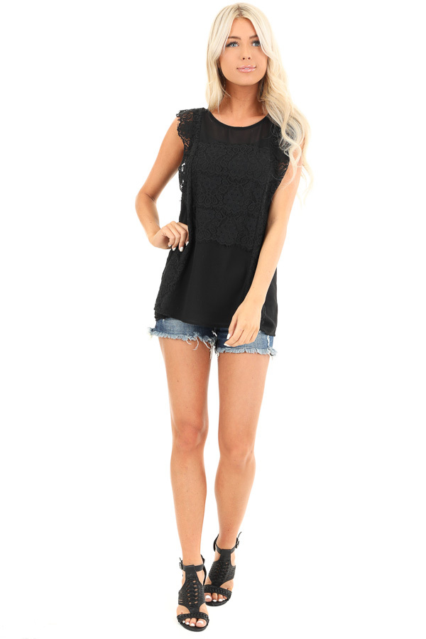 Raven Black Short Sleeve Top with Floral Lace Details front full body