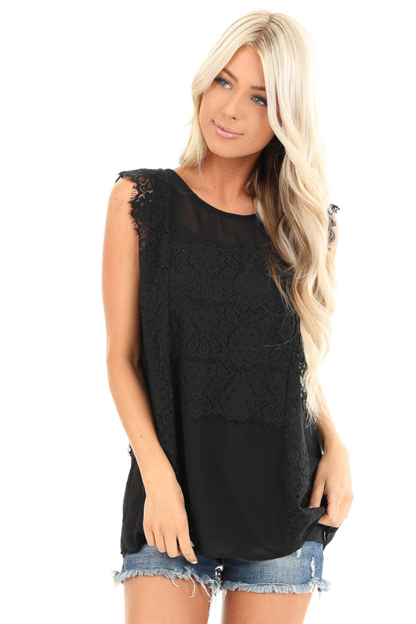 Raven Black Short Sleeve Top with Floral Lace Details front close up