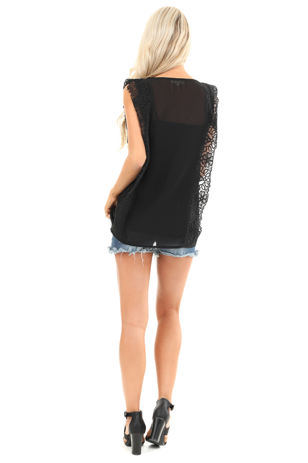 Raven Black Short Sleeve Top with Floral Lace Details back full body