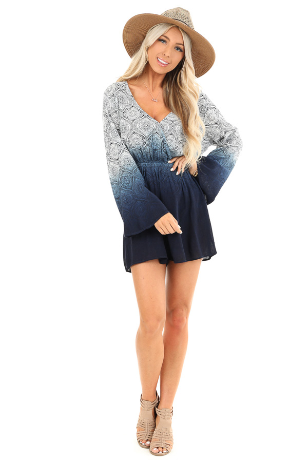 Navy and Pearl Ombre Floral Bell Sleeved Surplice Romper front full body