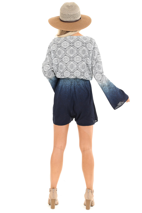 Navy and Pearl Ombre Floral Bell Sleeved Surplice Romper back full body