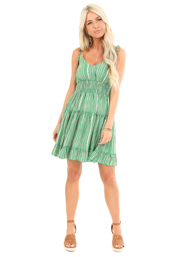 Sour Apple Green Striped Tiered Sleeveless Mini Dress front full body
