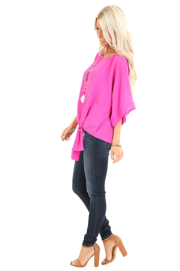 Magenta Top with Wide 3/4 Sleeves and Side Tie Detail side full body