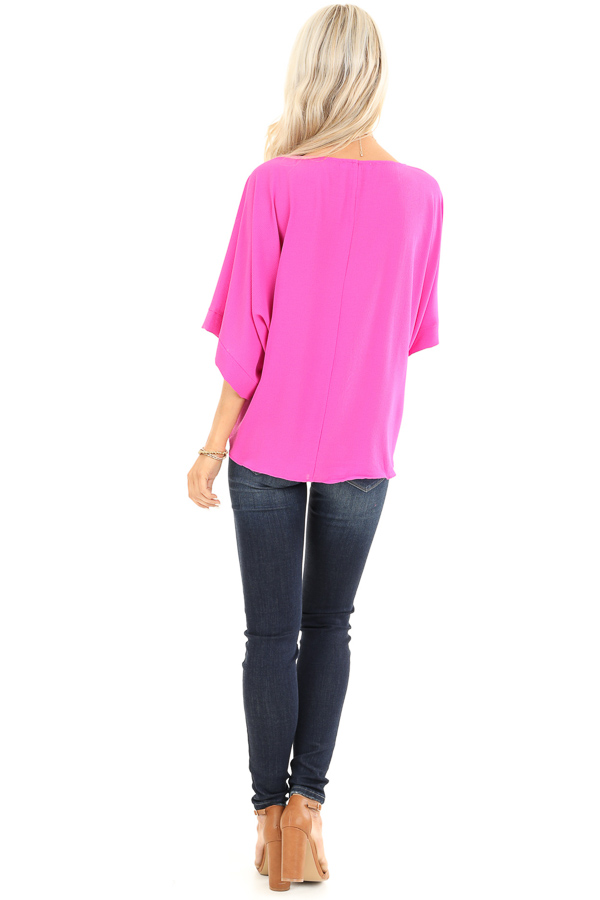 Magenta Top with Wide 3/4 Sleeves and Side Tie Detail back full body