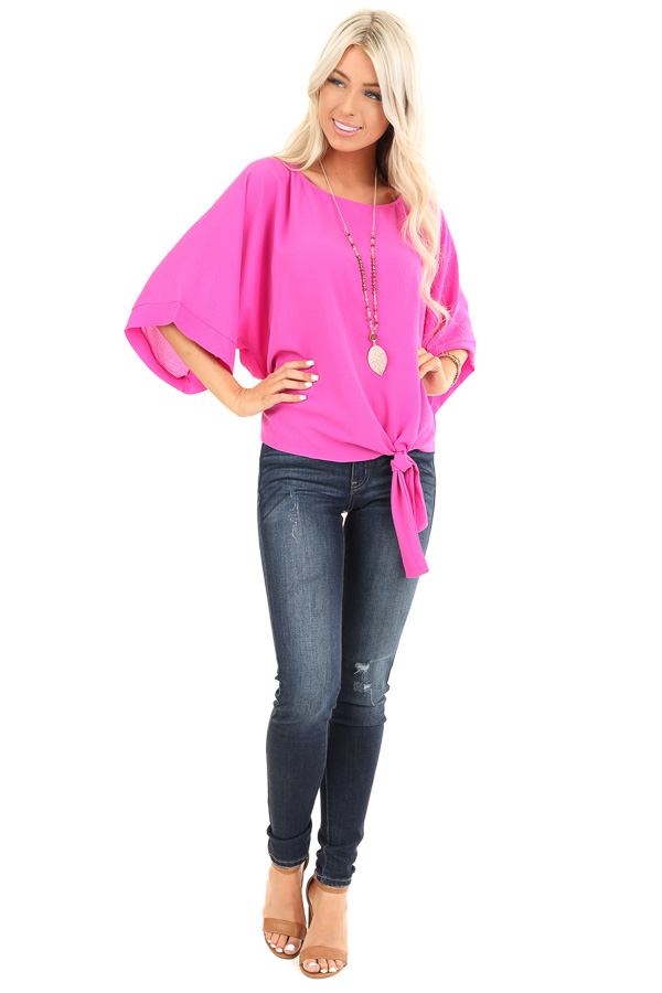 Magenta Top with Wide 3/4 Sleeves and Side Tie Detail front full body