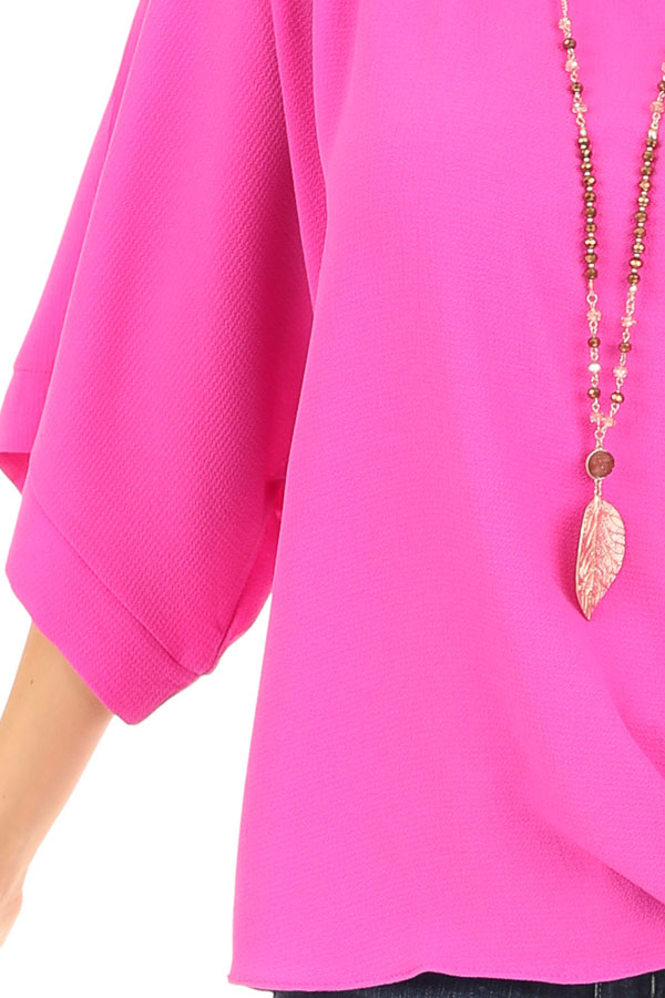 Magenta Top with Wide 3/4 Sleeves and Side Tie Detail detail