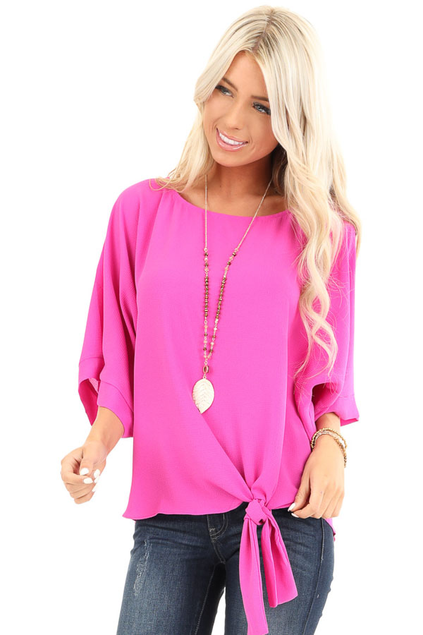 Magenta Top with Wide 3/4 Sleeves and Side Tie Detail front close up