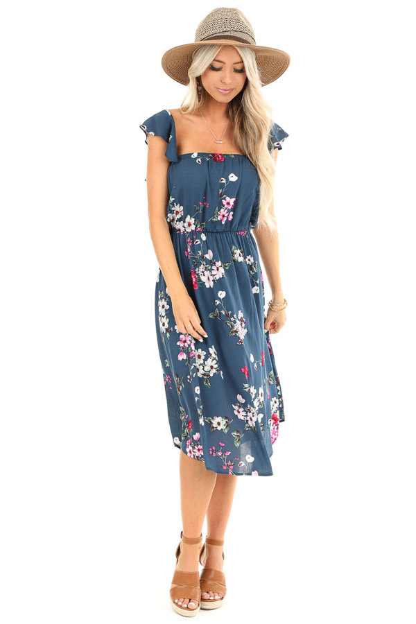 Aegean Blue Floral Print Dress with Short Ruffle Sleeves front full body