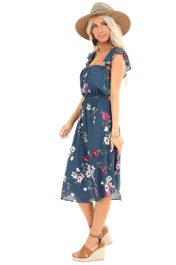 Aegean Blue Floral Print Dress with Short Ruffle Sleeves side full body