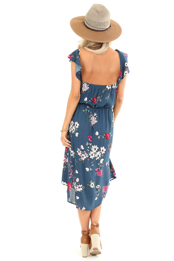 Aegean Blue Floral Print Dress with Short Ruffle Sleeves back full body