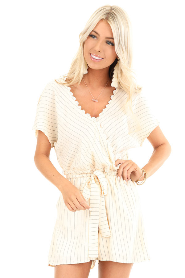 Cream Striped Surplice Romper with Pockets and Waist Tie front close up