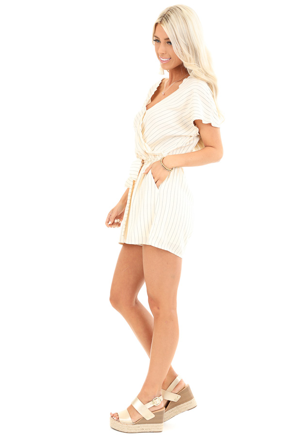 Cream Striped Surplice Romper with Pockets and Waist Tie side full body