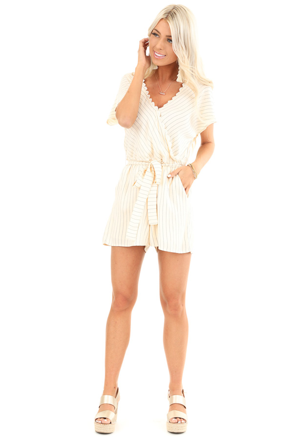 Cream Striped Surplice Romper with Pockets and Waist Tie front full body