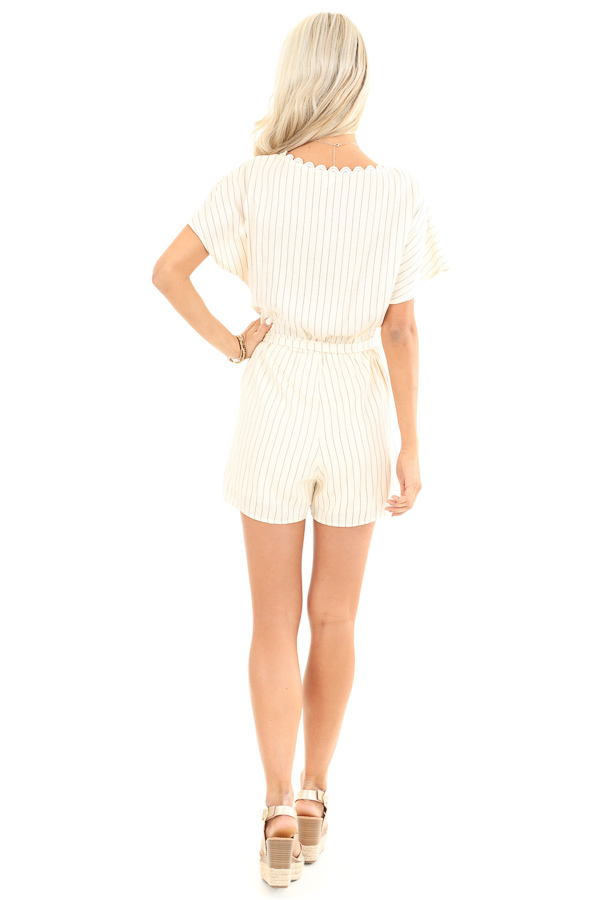 Cream Striped Surplice Romper with Pockets and Waist Tie back full body