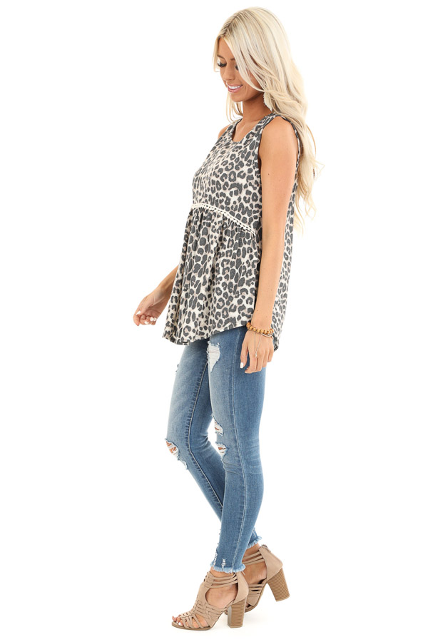 Cream Leopard Print Tank Top with Crochet Lace Detail side full body