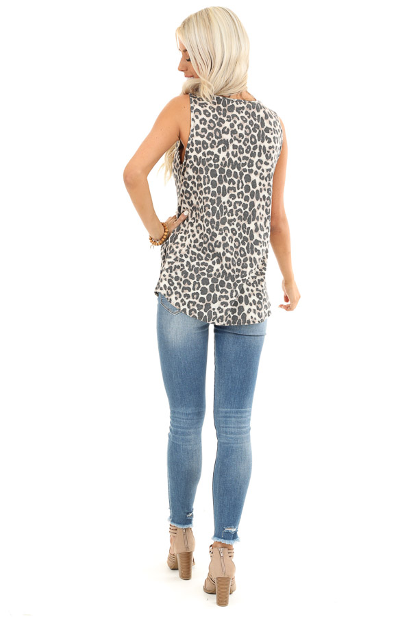 Cream Leopard Print Tank Top with Crochet Lace Detail back full body