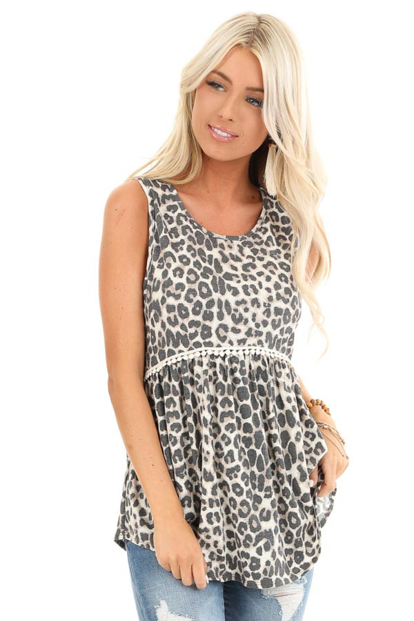 Cream Leopard Print Tank Top with Crochet Lace Detail front close up