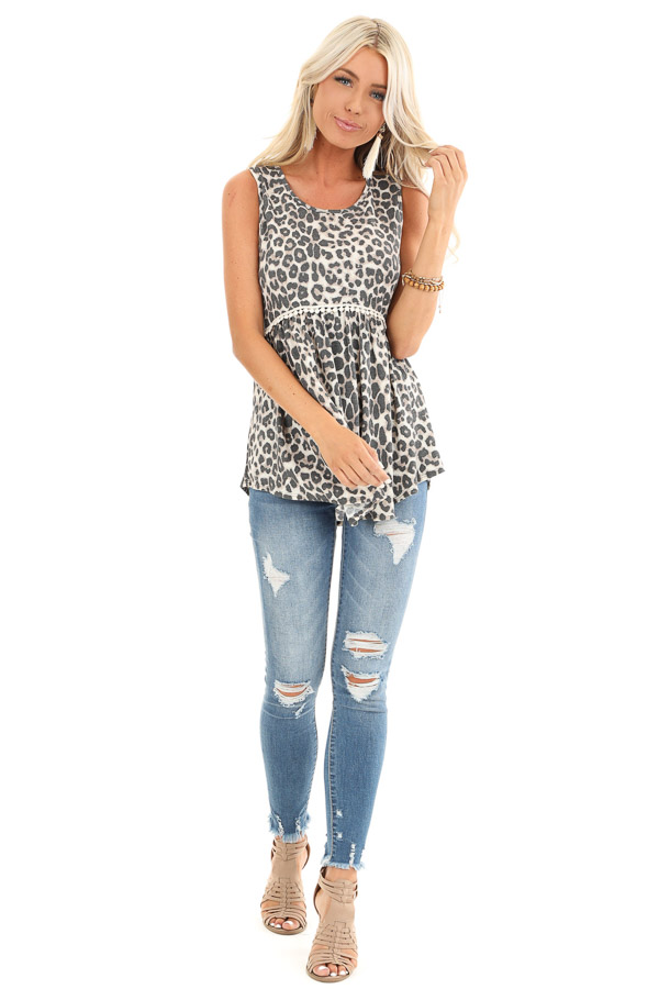 Cream Leopard Print Tank Top with Crochet Lace Detail front full body