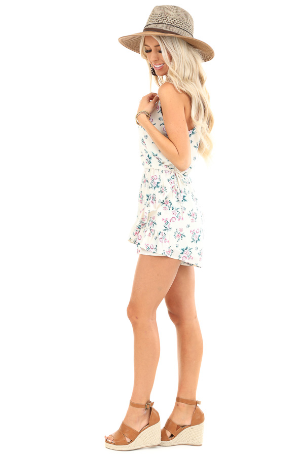 Ivory Floral Print Faux Wrap Style Romper with Ruffle Detail side full body
