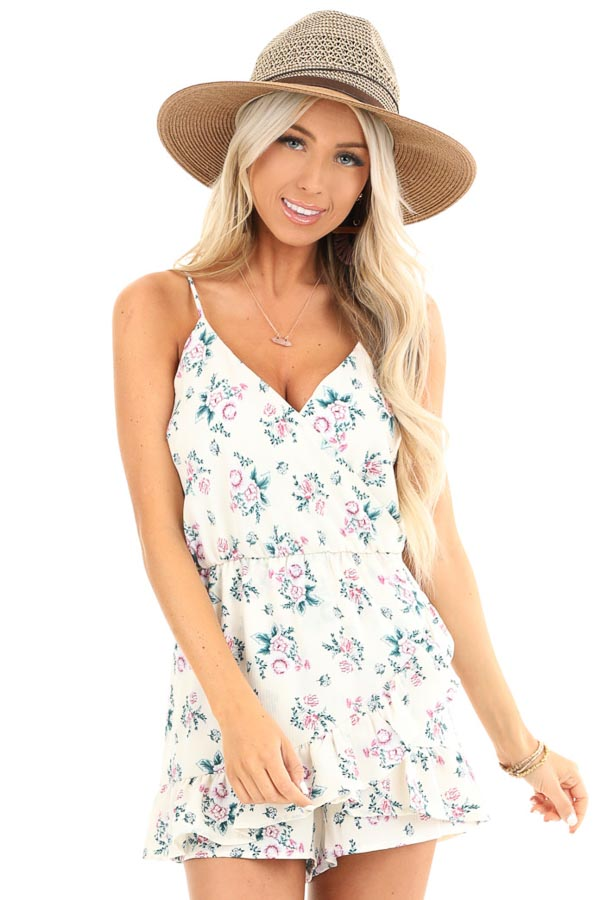 Ivory Floral Print Faux Wrap Style Romper with Ruffle Detail front close up
