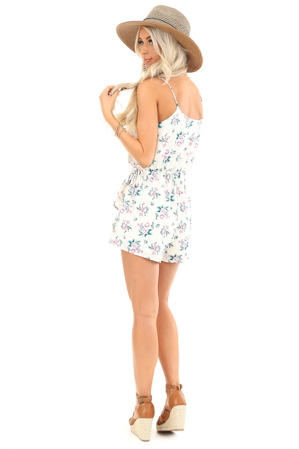 Ivory Floral Print Faux Wrap Style Romper with Ruffle Detail back full body