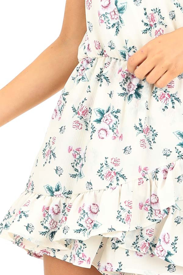 Ivory Floral Print Faux Wrap Style Romper with Ruffle Detail detail