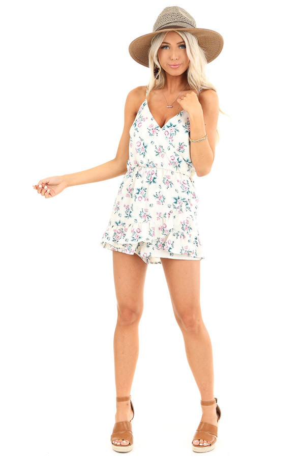 Ivory Floral Print Faux Wrap Style Romper with Ruffle Detail front full body