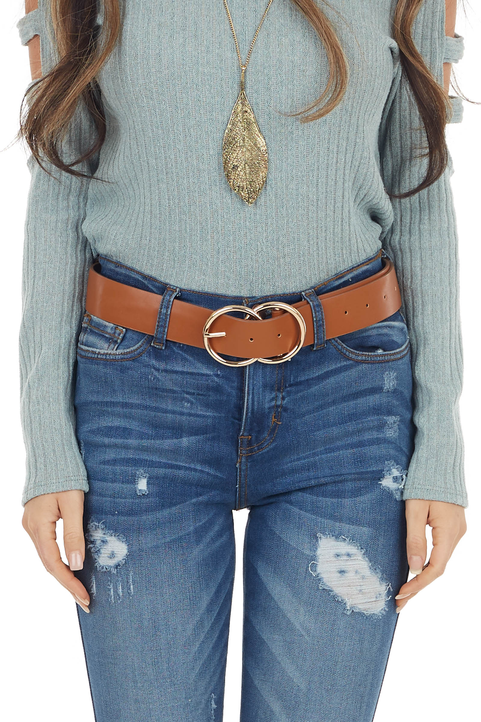 Caramel Faux Leather Belt with Gold Double Ring Buckle