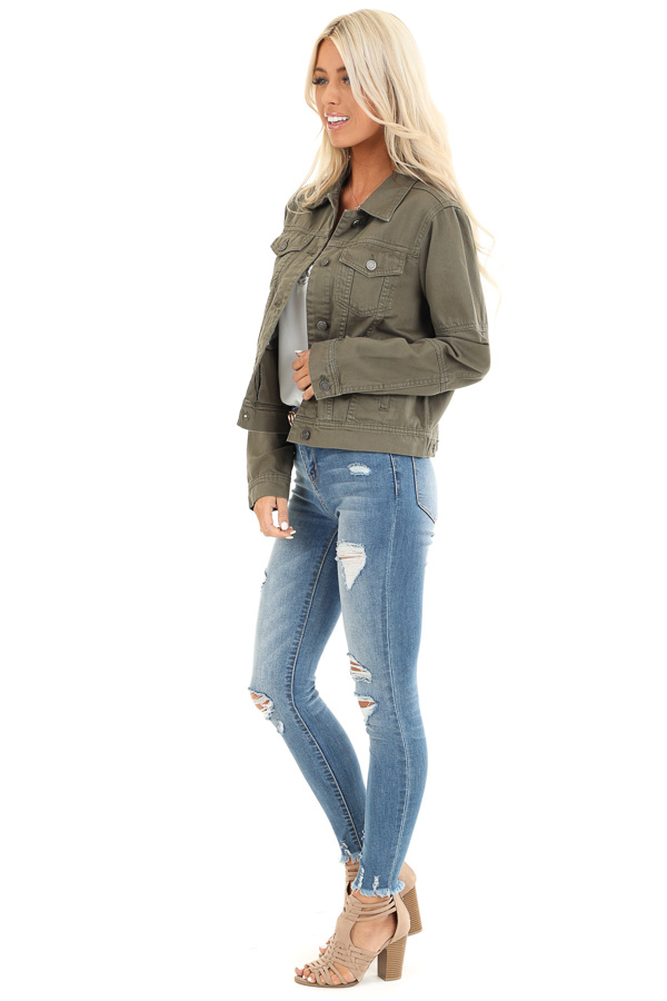 Olive Long Sleeve Button Up Denim Jacket with Pockets side full body