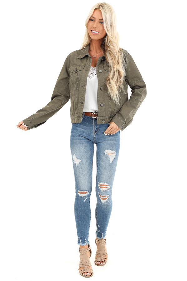 Olive Long Sleeve Button Up Denim Jacket with Pockets front full body