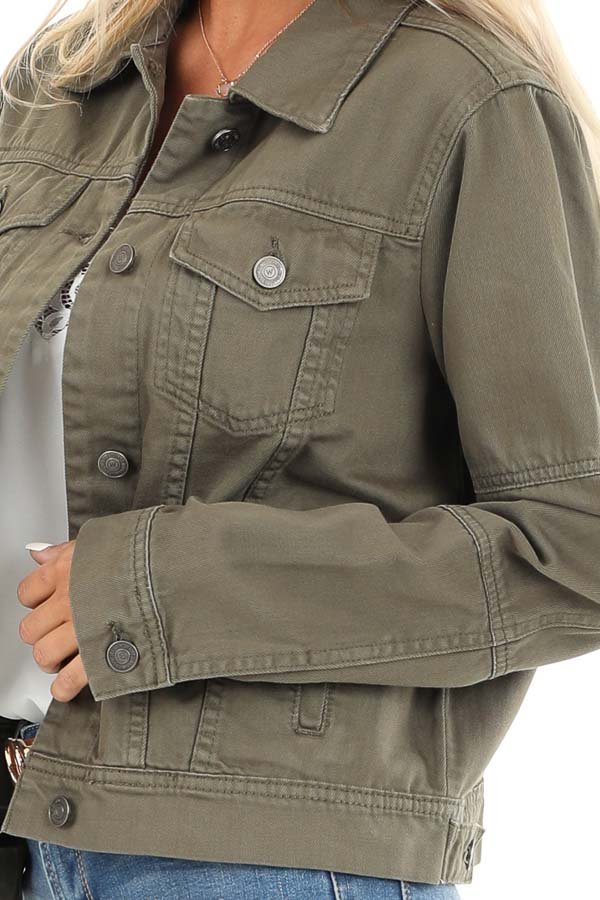 Olive Long Sleeve Button Up Denim Jacket with Pockets detail