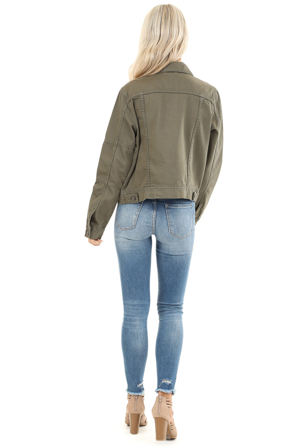 Olive Long Sleeve Button Up Denim Jacket with Pockets back full body