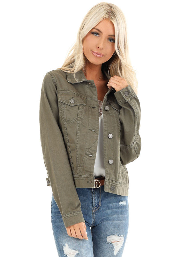 Olive Long Sleeve Button Up Denim Jacket with Pockets front close up