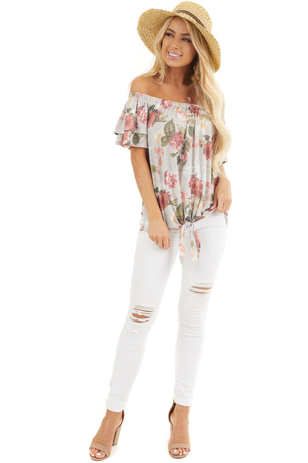 Silver Grey Floral Print Off Shoulder Top with Front Tie front full body