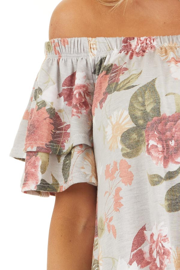 Silver Grey Floral Print Off Shoulder Top with Front Tie detail