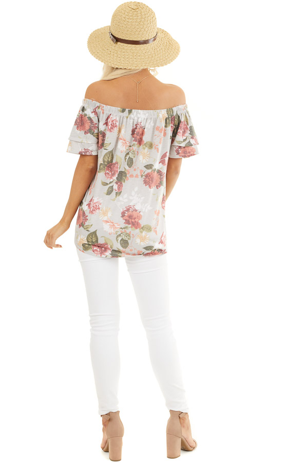 Silver Grey Floral Print Off Shoulder Top with Front Tie back full body
